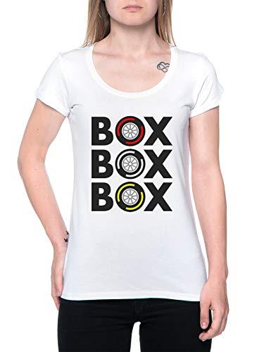 Box Box Box Tyre Compound T-Shirt Damen Weiß T-Shirt Women's White