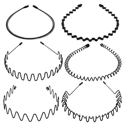 (6 Piezas Negro) Diademas de Metal con Aro Ondulado Accesorios de Peinado Flexible Unisex Estilo Múltiple para Mujeres y Hombres