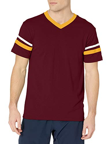 Augusta Sportswear Men's Medium Sleeve Stripe Jersey, Maroon/Gold/White