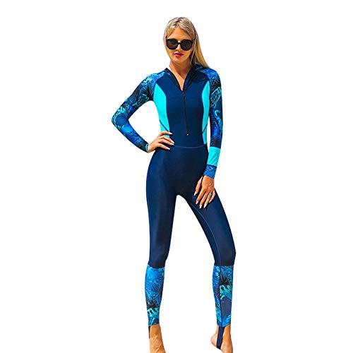 Traje de Neopreno para Mujeres con Capucha, Una Pieza Traje de Buceo de Surf Térmico de Invierno de Manga Larga, Wetsuit con Cremallera Frontal,Dark Blue-L