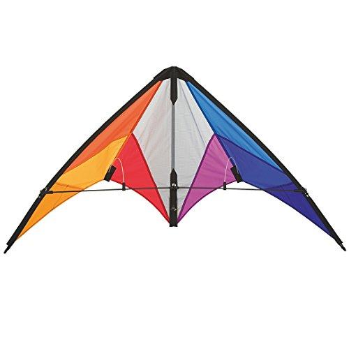 HQ 112322 - Calypso II Rainbow Lenkdrachen Zweileiner, ab 8 Jahren, 59x110cm, inkl. 20kp Polyesterschnüre 2x20m auf Spulen, 2-6 Beaufort