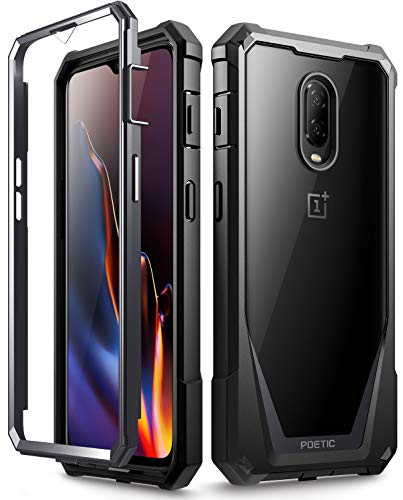 OnePlus 6T Case, Poetic Guardian [Scratch Resistant Back] [Built-in-Screen Protector] Full-Body Rugged Clear Hybrid Bumper Case for OnePlus 6T (2018) - Black