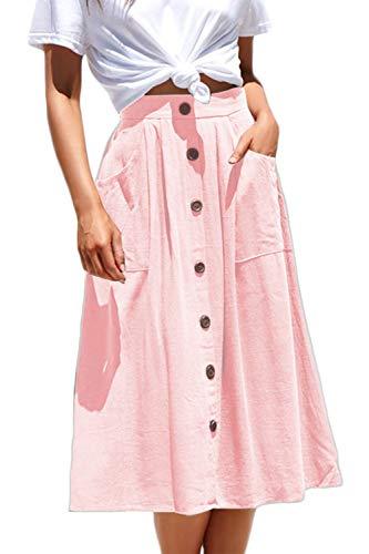 Meyeeka Casual High Waist Pleated A Line Long Skirt Button Front Clubwear for Women Pink XL