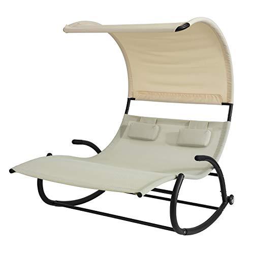 SoBuy OGS50-MI Schaukelliege für 2 Personen Sonnenliege mit Sonnendach Doppelliege Gartenbett mit Rollen Relaxliege beige Belastbarkeit 300 kg BHT ca: 140x180x184cm