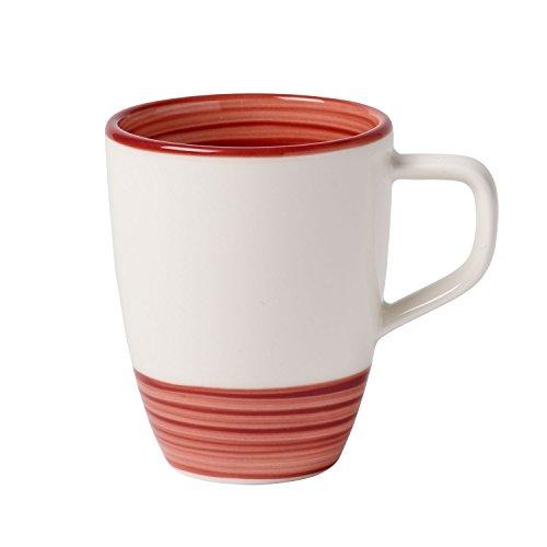 Villeroy und Boch Manufacture Rouge Kaffeebecher, 380 ml, Premium Porzellan, Rot