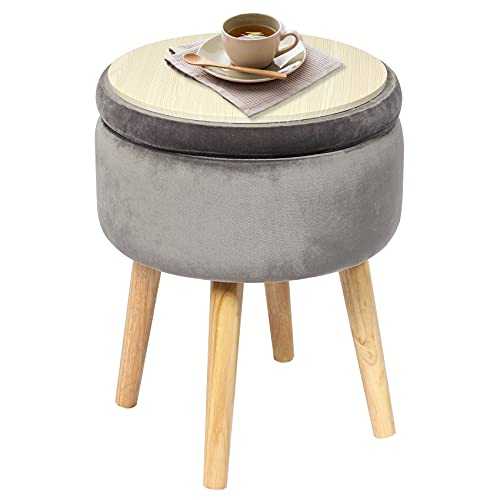 Bonlife 40L Storage Box Ottoman Foot Stool Seat Coffee Table Crushed Velvet Living Room Maximum Weight Load 150kg 4 Legs Grey 36x36x45cm