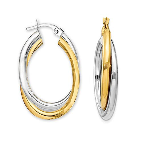 LeCalla Sterling Silver Jewelry Two Tone Intertwining Oval Shape Polished Hoop Earring for Women