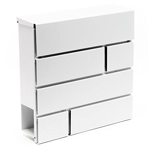 Designer Briefkasten V15 Postkasten Weiß Zeitungsfach pulverbeschichtet Postbox