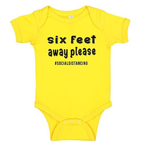 Ink Trendz Social Distancing 6 Feet Away Quarantine Baby Infant to Toddler One-Piece Bodysuit (Newborn, Yellow)
