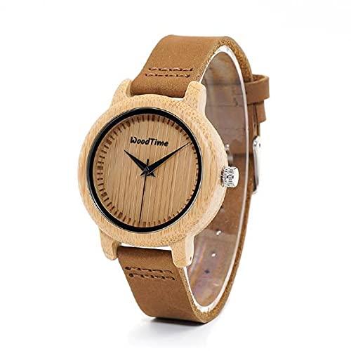 Woodtime WT09A-1 - Reloj de pulsera de bambú y piel para mujer