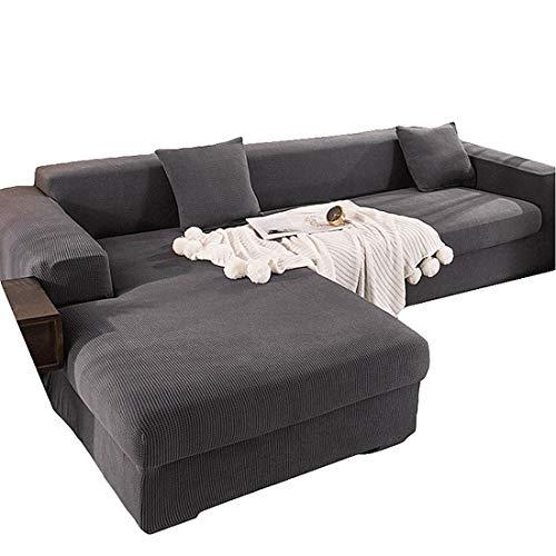 ABUKJM Fundas Sofa elasticas,Fundas para Sofa Chaise Longue,Tela Cuadrada Pequeña Engrosada Fundas para Sofa 2 Plazas + 2 Plazas,A Prueba De Polvo, para Sala De Estar Sofá Protector,Dark Gray