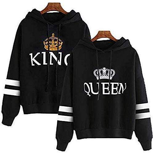 Bkckzzz King Queen Sudaderas con Capucha Pareja a Rayas Manga Personalizada Arte Personalizado Sudadera con Capucha Estampada con Capucha Conjunto @ Men_L + Women_S_Black # King + Queen