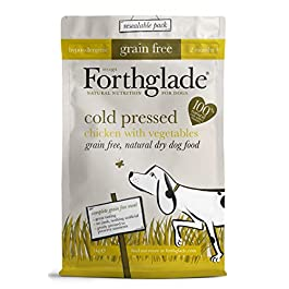 Forthglade 100% Natural Dog Food Cold Pressed Dry Dog Food Grain Free with Chicken and Vegetables 1kg Bag