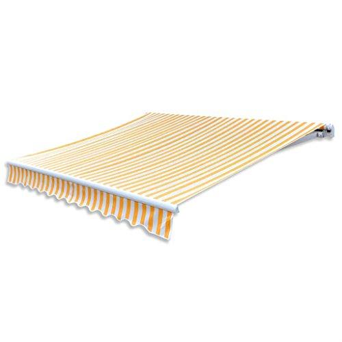 Tidyard Toldo de Lona Tapa de Reemplazo Toldos Exterior Parte Superior para Patio Terraza Jardín Ultravioleta Amarillo y Blanco 3X2,5M(Marco del Toldo no Incluido)