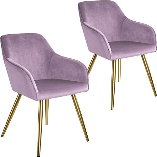 tectake 800861 2er Set Esszimmerstuhl mit Armlehnen, gepolstert, Sitzfläche aus Samt, goldene Metallbeine, für Wohnzimmer, Esszimmer, Küche und Büro (Rosa Gold   Nr. 404006)