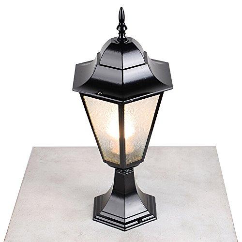 FENGLIAN Wall Europea poste de luz americana rural Columna impermeable Pilar clásico de la lámpara de cristal de aluminio E27 al aire libre Patio jardín de las linternas de la cerca del césped del pai