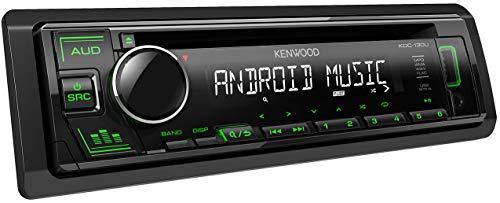 Kenwood KDC-130UG CD-Autoradio mit RDS (Hochleistungstuner, USB, AUX-Eingang, Android Control, Bass Boost, 4x50 Watt, Grün) Schwarz