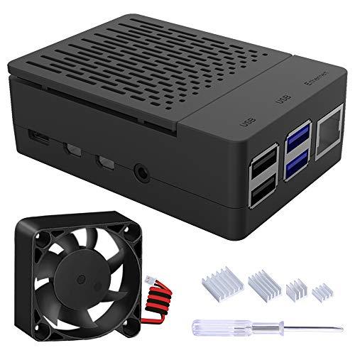 GeeekPi Caja para Raspberry Pi 4 Modelo B, Raspberry Pi 4B Caja con Ventilador 40X40X10mm y 4 Piezas Raspberry Pi 4 Disipadores para Raspberry Pi 4 Modelo B (Negro)