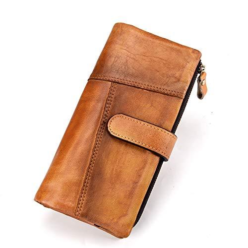 Damen-Geldbörse, RFID-blockierender Verschluss, Vintage-Stil, zum Reiben von Hand, braun (Braun) - 8025-USNEW-BN