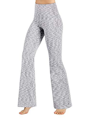 ODODOS Women's High Waist Boot-Cut Yoga Pants Tummy Control Workout Non See-Through Bootleg Yoga Pants,SpaceDyeWhite,Large