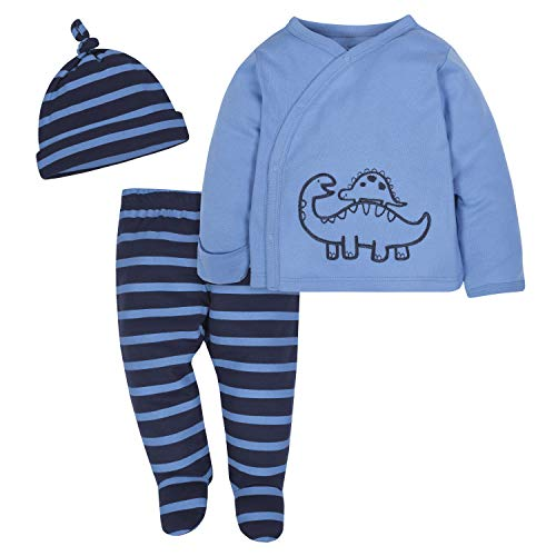 Gerber Baby Boys' 3-Piece Shirt, Footed Pant and Cap Set, Dinosaurs Blue, 0-3 Months