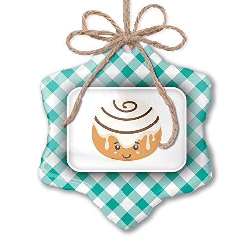 NEONBLOND Christmas Ornament Cinnamon Roll Cute, Kawaii Food with Face Japanese Pastel Mint Green Plaid