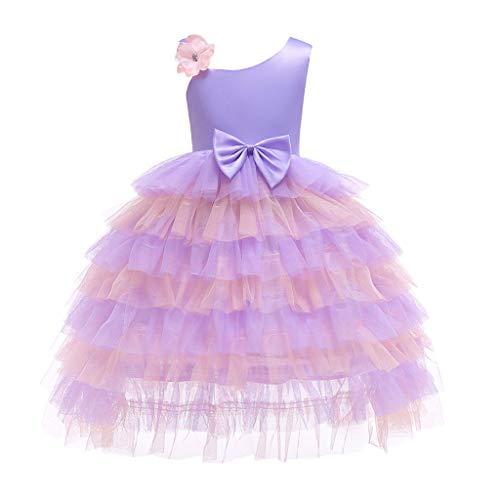 TIFIY Mädchen Spitze Bowknot Tüll Hochzeitskleid Prinzessin Kleider Cosplay Festliche Geburtstagsfeier Langes Abendkleid Carnival(Lila,120)