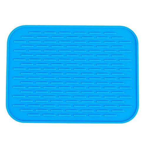 Keuken Hittebestendige anti-slip deurmat Tafel Driehoek Pad Pot Plate Praktische Veiligheid Siliconen Pot Schaal Schaal Rack Deur Mat Pad Placemat T @Blauw