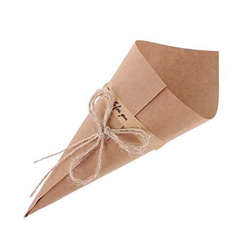 Yalulu 50Pcs Brown/Black Wedding Favors Kraft Paper Cones Candy Boxes Ice Cream Flower Holder DIY Wedding Table Decor Party Gift Box (Brown)