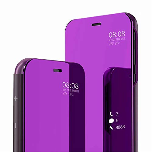 PANXIYUE Funda Xiaomi Redmi Note 7 / Note 7 Pro,Carcasa Espejo Mirror Flip Soporte Fund para Xiaomi Redmi Note 7 / Note 7 Pro(Púrpura