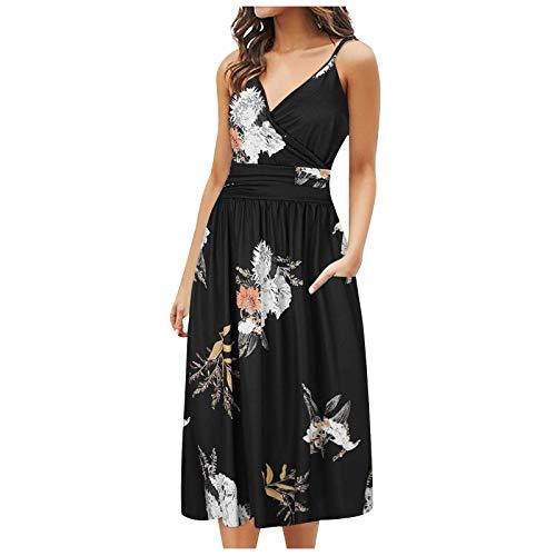 AFFGEQA Sommerkleider Damen Slingkleid Blumenkleid Knielang Kurzarm Tunika Kleid V-Ausschnitt Elegant Maxikleid Strandkleider Abendkleid