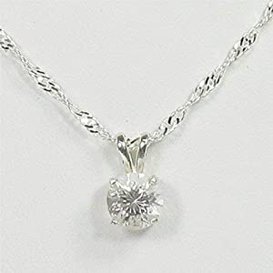 Danburite 7mm Sterling Silver Gemstone Necklace Natural Untreated