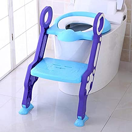 GOCART Baby Kid's Abs Plastic Foldable Potty-Trainer Seat for Toilet Stand with Ladder Step up Training Stool with Non-Slip Steps (Purple)
