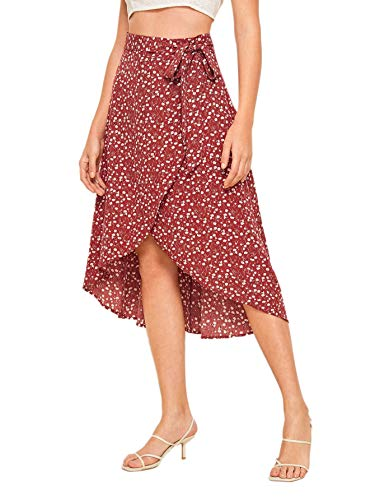 SheIn Women's Boho Ditsy Floral Knot High Waisted Wrap Split Midi Skirt Red X-Small