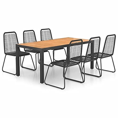 Ksodgun Set de Comedor de jardín de 7 Piezas Comedor Set Muebles de Jardin Conjunto Jardin PVC ratán Negro y marrón