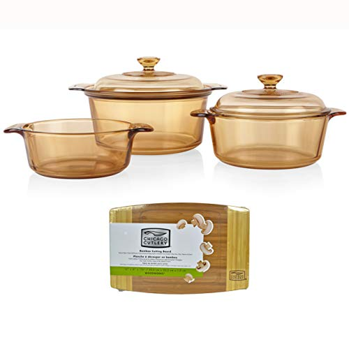 Visions 5 Piece Glass Cookware Set with Chicago Cutlery Bamboo Cutting Board