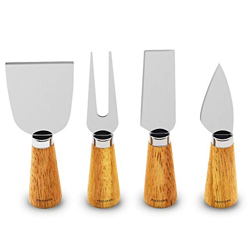 Freehawk 4 Pieces Set Cheese Knives with Bamboo Wood Handle Steel...