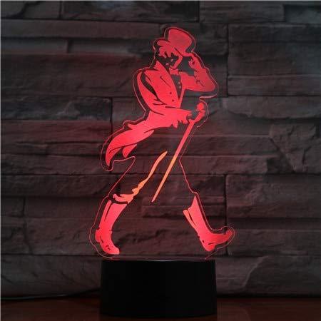hqhqhq Figura de Mago Hombre luz de Noche acrílica LED con 16 Colores ilusión táctil Cambio Luces de decoración del hogar 3D-1 con Mando a Distancia -1314