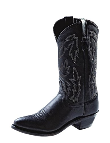 Old West Black Womens Polanil Leather 11in Narrow Round Toe Cowboy Boots 7.5 M