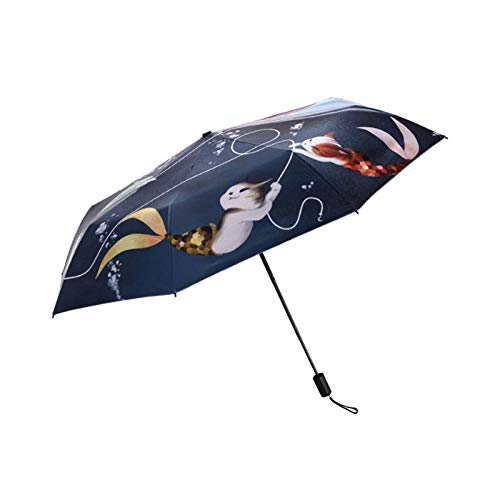 Vouw Vrouwen Paraplu voor Mode Kat Vis Gedrukt Winddichte Paraplu's Regen Gear Leuke Dier Potlood Anti Uv zon schaduw