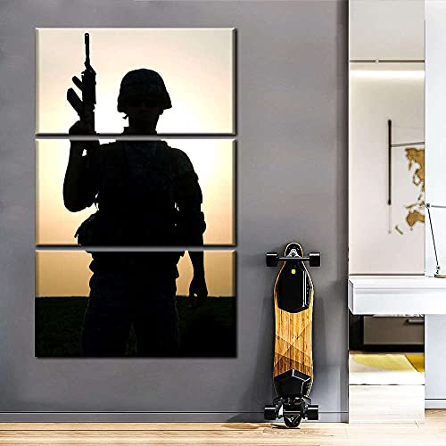 Cuadros Decor Salon Modernos 3 Piezas Lienzo Grandes XXL Murales Pared Hogar Pasillo Decor Arte Pared Abstracto HD Impresión Foto Regalo Silueta de rifle de soldado (Enmarcado)