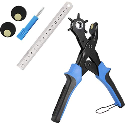 DUXIN Leather Punch Belt Hole Puncher, Heavy Duty Leather Hole Punch Plier 6 Hole Sizes, Hole Puncher for Shoes Watch Strap Belt, Rotary Puncher