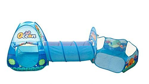 SHWYSHOP Tienda de campaña para niños, Tienda de campaña emergente 3 en 1 con túnel, Piscina de Bolas para niños, bebés y niños pequeños, casa de Juegos Interior/Exterior, B (Plegable)