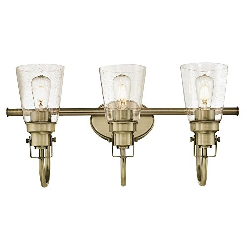 Westinghouse Lighting 6334000 Ashton Three-Light Indoor Wall Fixture, Antique Brass Finish with -