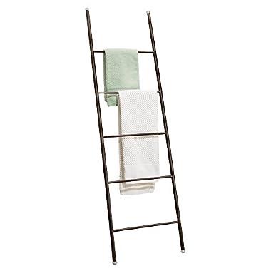 mDesign Free Standing Bath Towel Bar Storage Ladder - 5 Rungs, Bronze