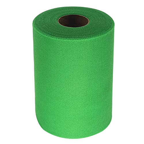 Tulle Fabric Rolls 6 Inch by 100 Yards (300 feet) Tulle Spool for Wedding Party Decorations Gift Bow Craft Tutu Skirt (Emerald Green)