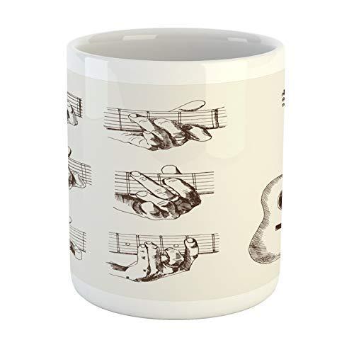 Koffie Mok 11 oz Thee Beker, Gitaar Mok, Sketch Art Stijl Instrument en akkoorden Akoestische Flamenco Techniek Vaardigheid Talent, Gedrukte Keramische Koffie Mok Water Thee Drankjes Beker, Crème Bruin