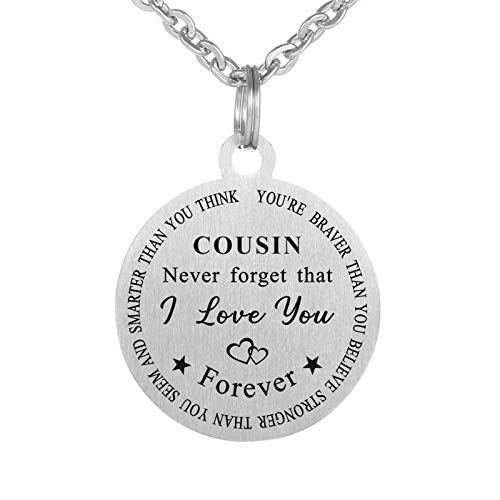 Suixining to My Cousin Necklace Girl Military Dog Tag Necklace Jewelry for Cousin