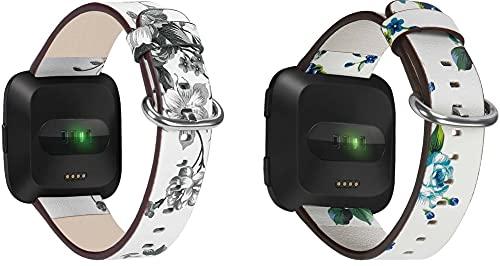 Genuinos Correas de Reloj Compatible con Fitbit Versa 2 / Versa 2 SE/Versa Lite/Versa smartwatch, Cuero de Liberación Rápida Correa de Reloj (Pattern 1+Pattern 4)