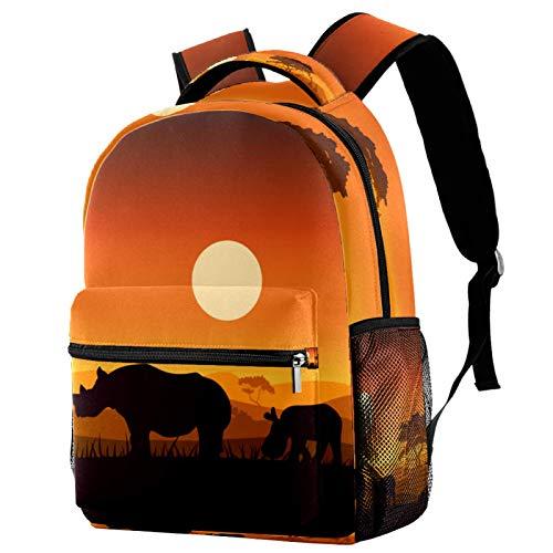 Cool School Backpack Rucksack Unisex Backpack Daypack Shoulders School Bag Back pack Rhino Sunset 11.5x8x16 in